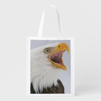 USA, Alaska, Homer. Bald eagle screaming. Credit Reusable Grocery Bag