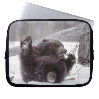 USA, Alaska. Juvenile grizzly plays with tree Laptop Sleeve