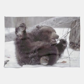 USA, Alaska. Juvenile grizzly plays with tree Tea Towel