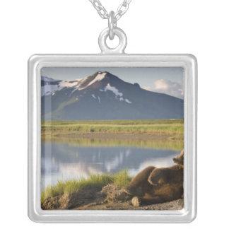 USA, Alaska, Katmai National Park, Brown Bears 2 Silver Plated Necklace