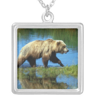 USA, Alaska, Katmai National Park, Grizzly 2 Silver Plated Necklace