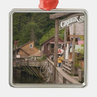 USA, Alaska, Ketchikan, Creek Street, downtown Christmas Ornament