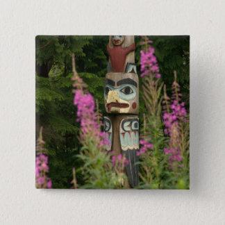 USA, Alaska, Ketchikan, Totem Bight State 15 Cm Square Badge