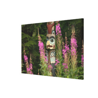 USA, Alaska, Ketchikan, Totem Bight State Canvas Print