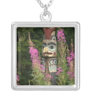 USA, Alaska, Ketchikan, Totem Bight State Silver Plated Necklace