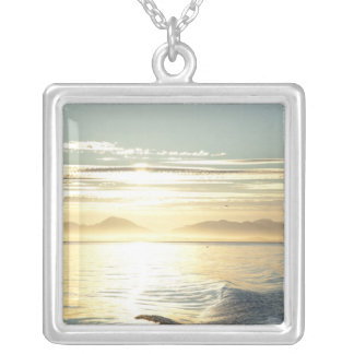 USA, Alaska, Southeast near Ketchikan, sunset. Silver Plated Necklace