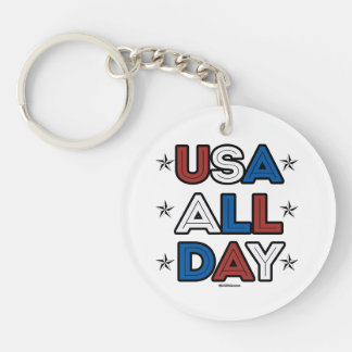 USA ALL DAY Double-Sided ROUND ACRYLIC KEY RING