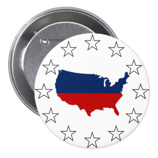 USA All Red White & Blue 7.5 Cm Round Badge