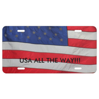 USA ALL THE WAY FLAG CAR TAG LICENSE PLATE