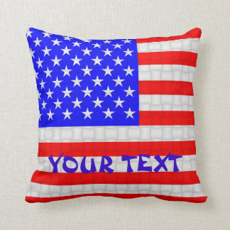 USA America American Flag: ADD TEXT Cushion