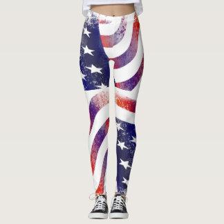 USA America American Flag leggings