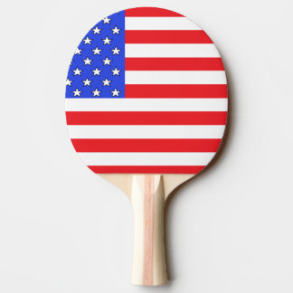 USA America Red White and Blue Ping Pong Paddle