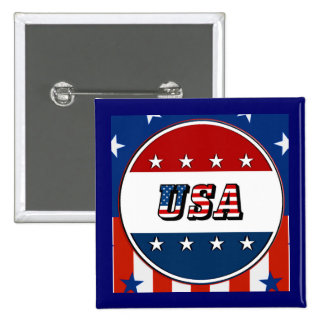USA - American Flag and Stars in Circle #2 Button