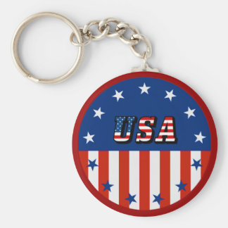 USA - American Flag and Stars in Circle Keychain
