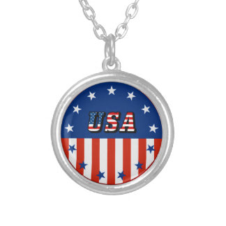 USA - American Flag and Stars in Circle Necklace