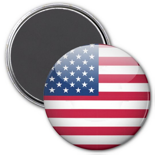 USA American Flag Button Round Magnet