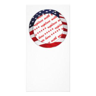 USA American Flag Circle Photo Frame Custom Photo Card