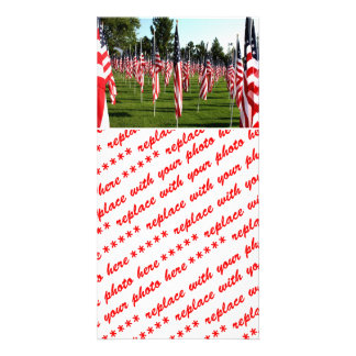 USA American Flag Corner Flag Memorial Photo Cards