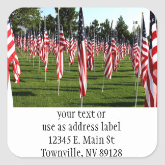 USA American Flag Corner Flag Memorial Square Sticker