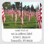 USA American Flag Corner Flag Memorial Square Stickers