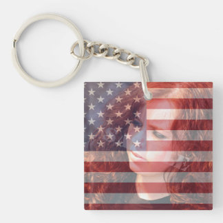 USA American Flag Customizable With Photo Single-Sided Square Acrylic Key Ring
