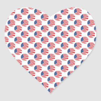 USA American Flag Fourth of July Patriotic Heart Sticker
