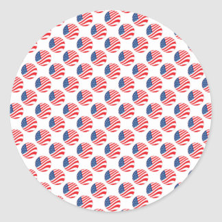 USA American Flag Fourth of July Patriotic Round Sticker