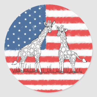 USA American Flag Giraffe Conservation Doodle Classic Round Sticker