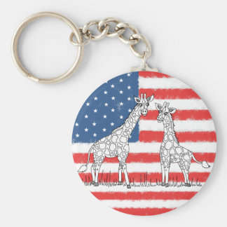 USA American Flag Giraffe Conservation Doodle Key Ring
