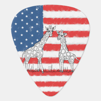 USA American Flag Giraffe Conservation Doodle Plectrum