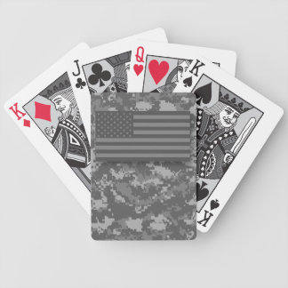USA American Flag Gray Night Camo Bicycle Playing Cards
