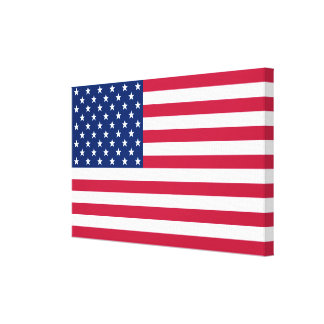 USA American Flag Home Office Decor Wrapped Canvas Stretched Canvas Print