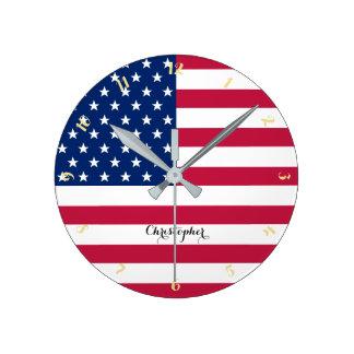 USA American Flag Patriotic Custom Name Room Decor Clocks
