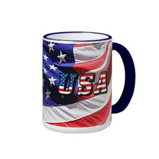 USA - American Flag Ringer Mug