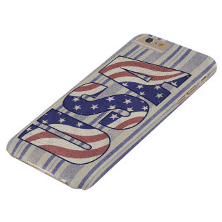 USA, American flag, rustic denim texture Barely There iPhone 6 Plus Case
