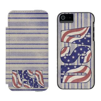 USA, American flag, rustic denim texture Incipio Watson™ iPhone 5 Wallet Case