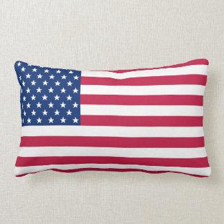 USA American Flag Stripes Patriotic Lumbar Pillow