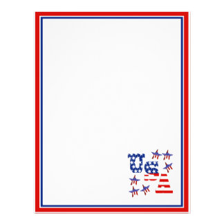 USA American Flag Text w/Red White & Blue Border 21.5 Cm X 28 Cm Flyer