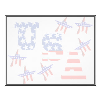 USA American Flag Text with Stars & Stripes 21.5 Cm X 28 Cm Flyer