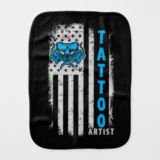 USA American Flag with Tattoo Artist Baby Burp Cloths