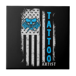 USA American Flag with Tattoo Artist Small Square Tile