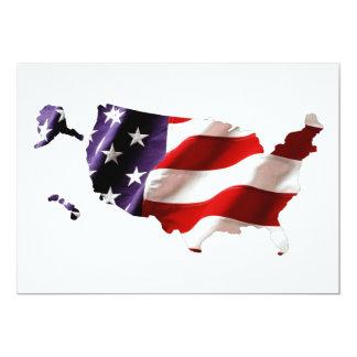 USA - American Flag Within America 13 Cm X 18 Cm Invitation Card