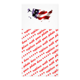 USA - American Flag Within America Customized Photo Card