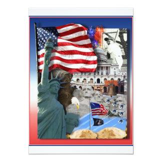 USA American Symbols 13 Cm X 18 Cm Invitation Card