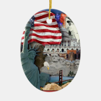 USA  American Symbols Christmas Ornament