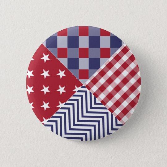USA Americana Diagonal Red White & Blue Quilt 6 Cm Round Badge
