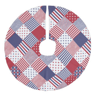 USA Americana Diagonal Red White & Blue Quilt Faux Linen Tree Skirt