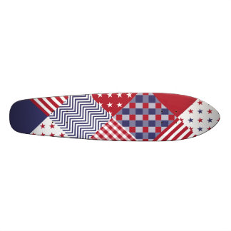 USA Americana Diagonal Red White & Blue Quilt Skate Board