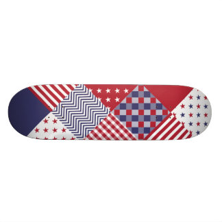 USA Americana Diagonal Red White & Blue Quilt Skate Boards