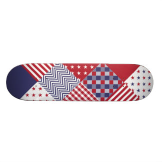 USA Americana Diagonal Red White & Blue Quilt Skateboards